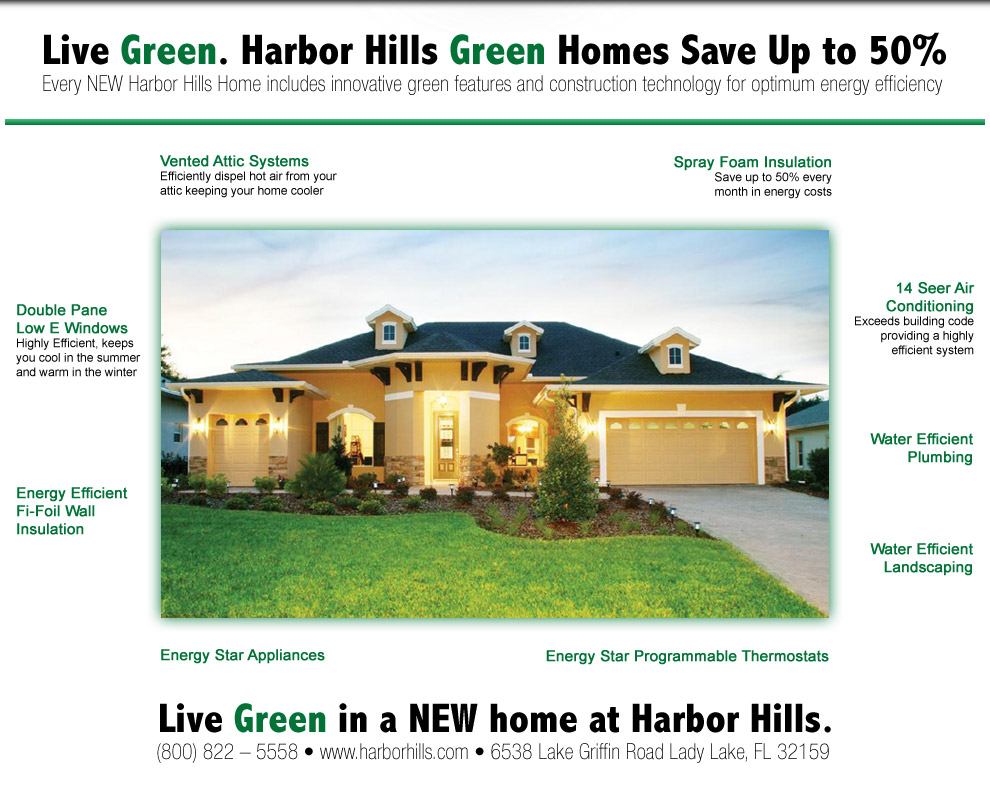 every new harbor hills home includes innovative green features and construction technology for optimum energy efficiency - Green Technology Homes