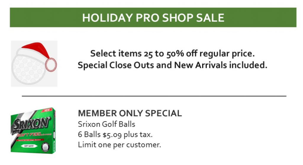 Holiday Pro Shop Sale