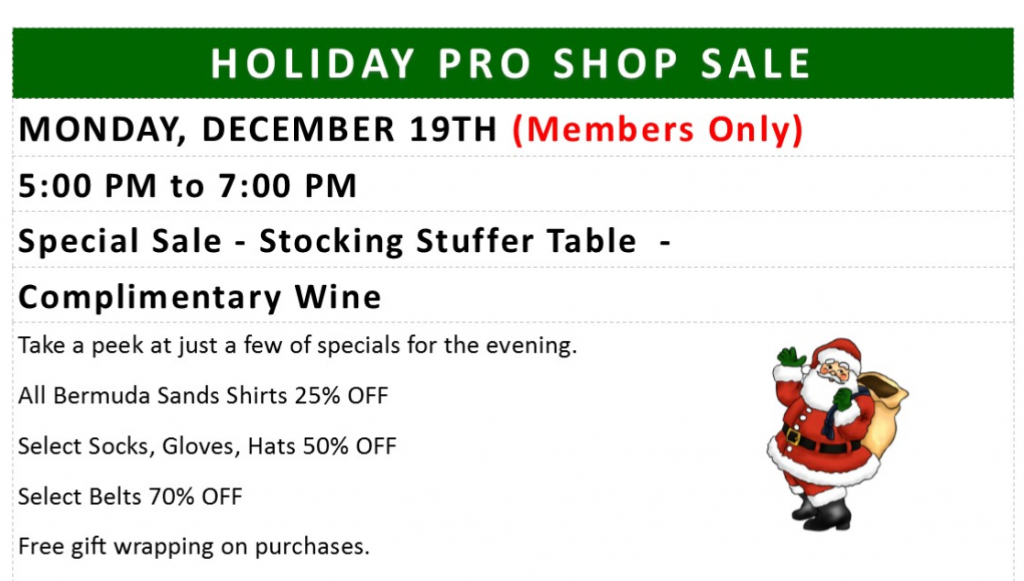 Mon Dec 19 Pro Shop Sale