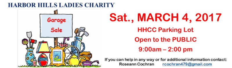HH Ladies Charity Garage Sale march 4 2017
